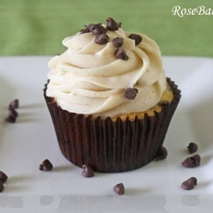 Chocolate Chip Cookie Dough Filled Cupcake with Cookie Dough Frosting Front 3
