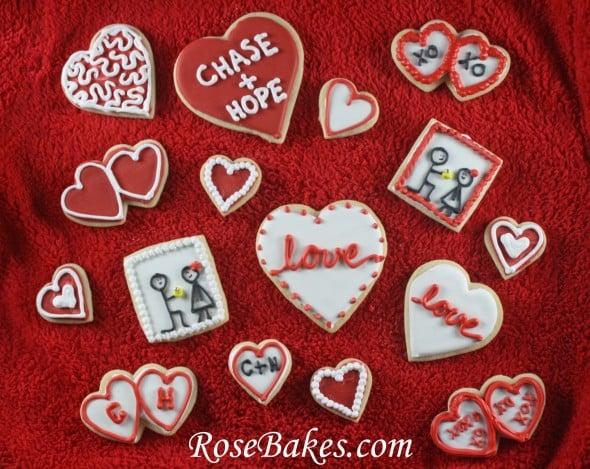 Engagement Party Cookies Love Hearts Stick Men Proposal