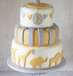 Gray Yellow Circus Hot Air Balloon Animals Cake