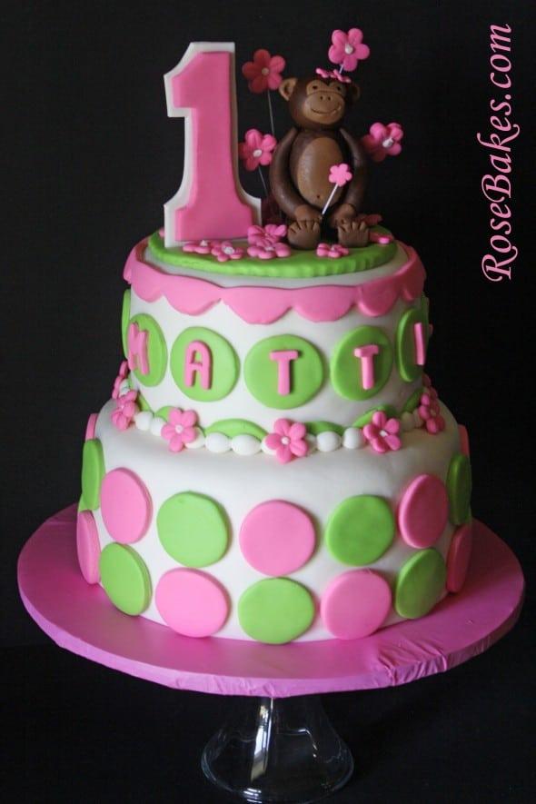 Pink Green Mod Circles Monkey Cake