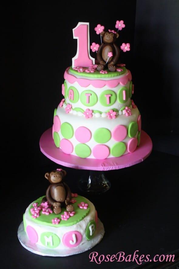Pink Amp Green Mod Circles Monkey Cake