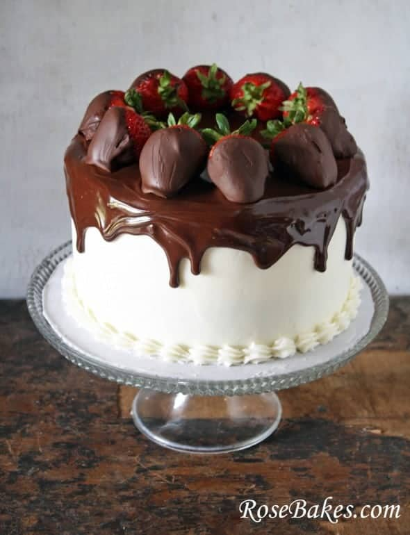 Chocolate Cake with Vanilla Filling and Frosting, Ganache Topping and Chocolate Dipped Strawberries Whole