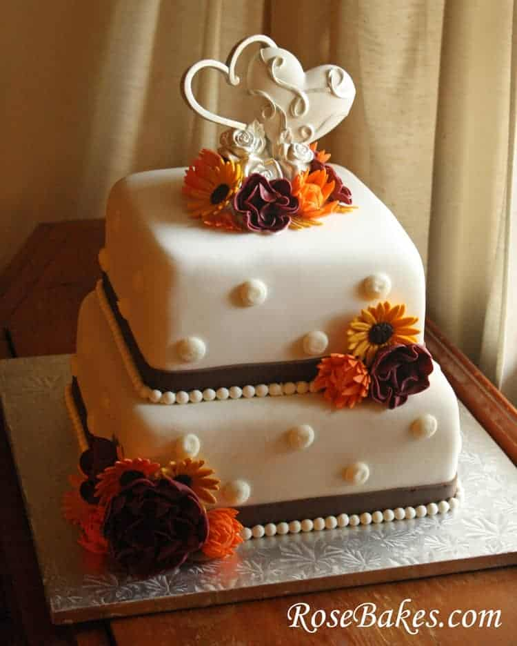 small fall wedding cakes fall flowers wedding cake 20210