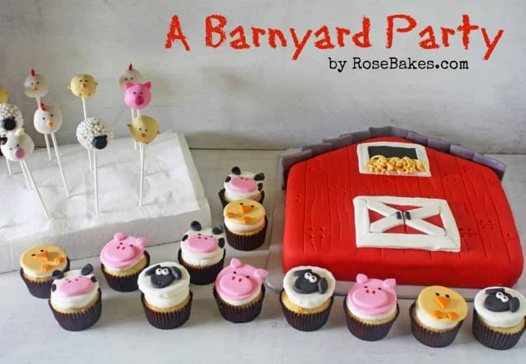 Farm Barnyard Animals Cake Cupcakes Cake Pops Birthday Party with Text