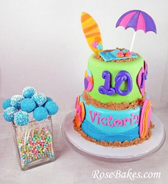 Beach Birthday Cake With Flip Flops Surf Boards Cake Pops