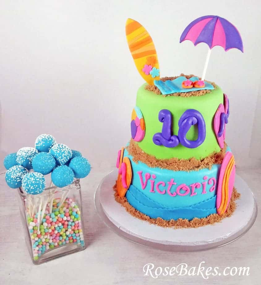 beach birthday cake birthday cake with flip flops amp surf boards cake pops 1532