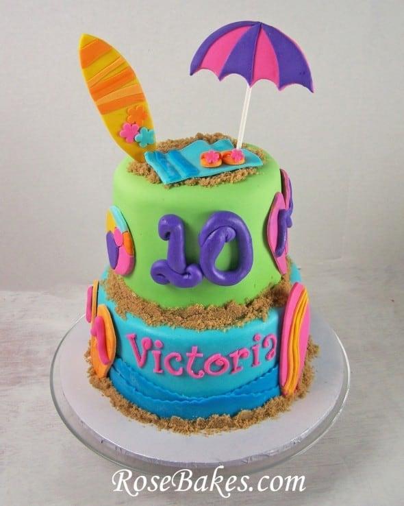 Beach Birthday Cake With Flip Flops Surf Boards Cake Pops