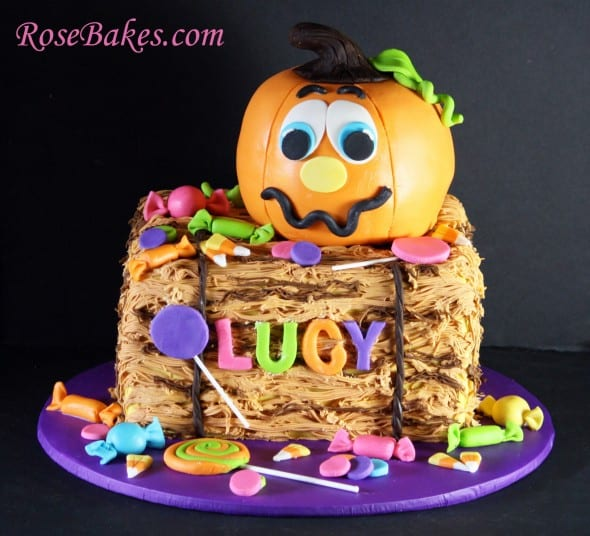 Pumpkin and Candy on Hay Bale Cake