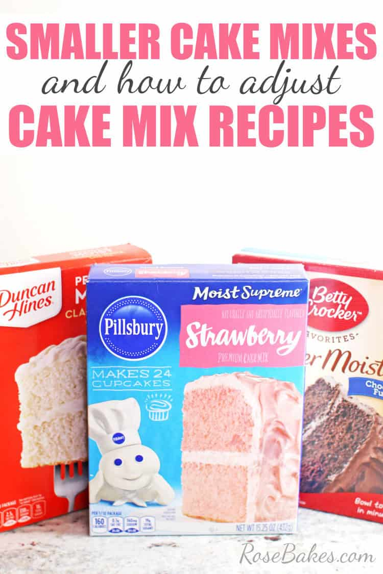 smaller cake mixes in 3 different brands