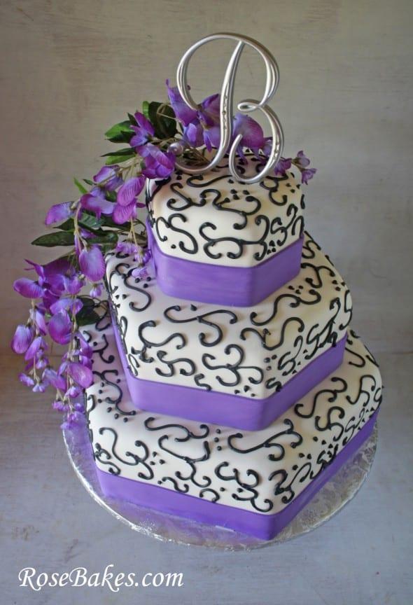 Wisteria Purple Black Wedding Cake