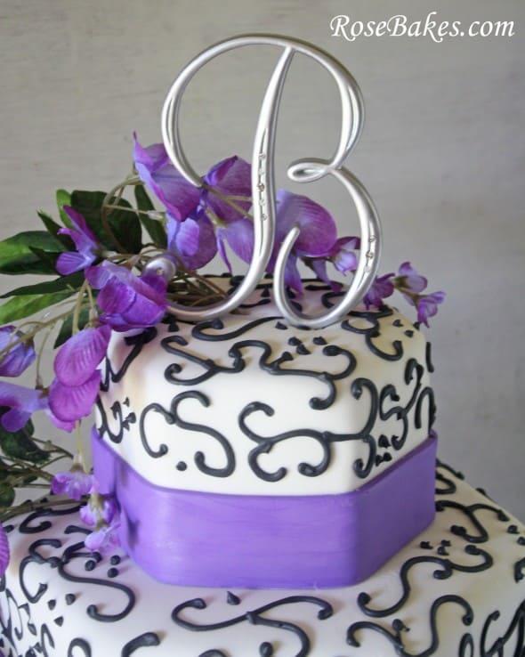 Wisteria Purple & Black Wedding Cake