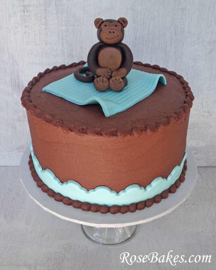 Chocolate Buttercream Monkey Baby Shower Cake with Fondant Monkey