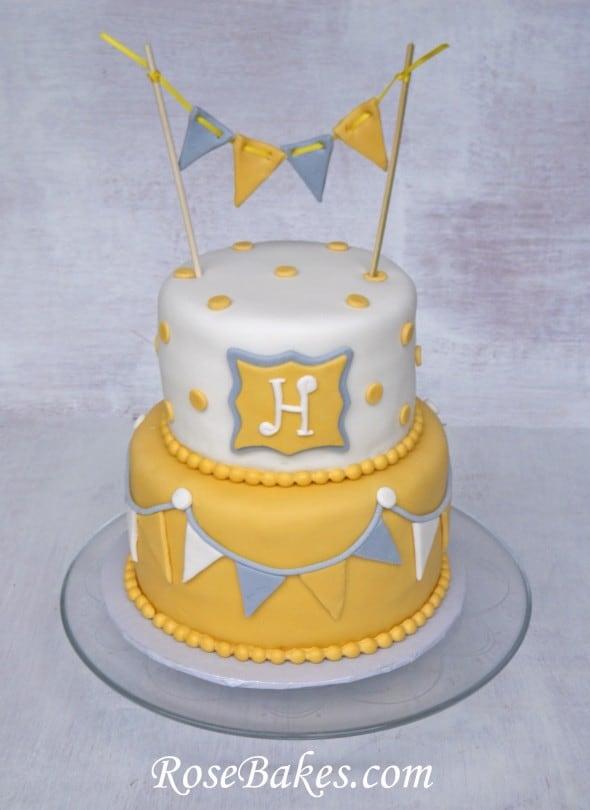 Gray Yellow Baby Shower Cake