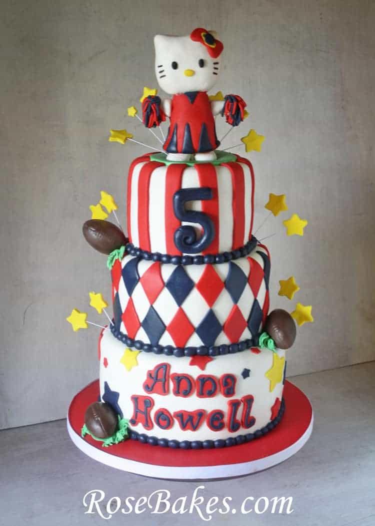 Hello Kitty Cheerleader Football Birthday Ole Miss Cake