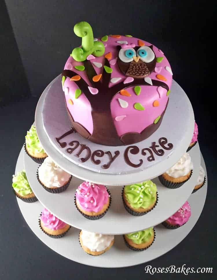 Look Whoos 1 Owl Birthday Cake Cupcake Tower