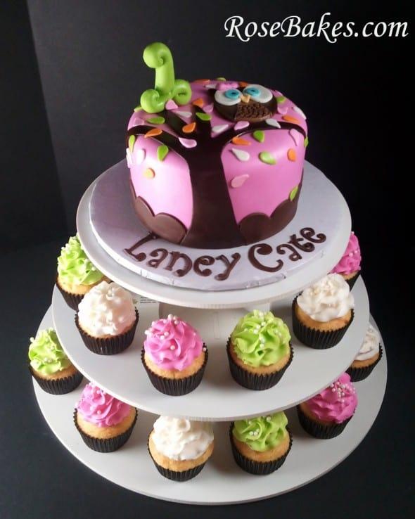 Look Whoos 1 Owl Birthday Cake Cupcake Tower