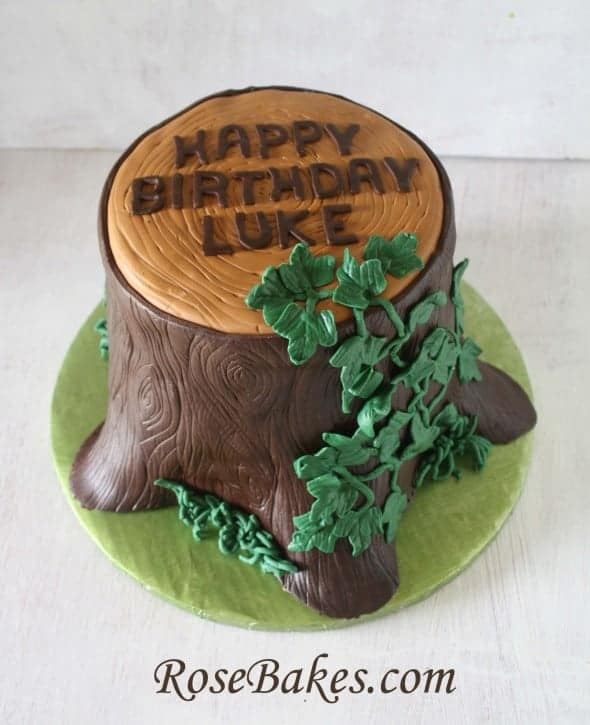 Luke Tree Stump Cake with Ivy
