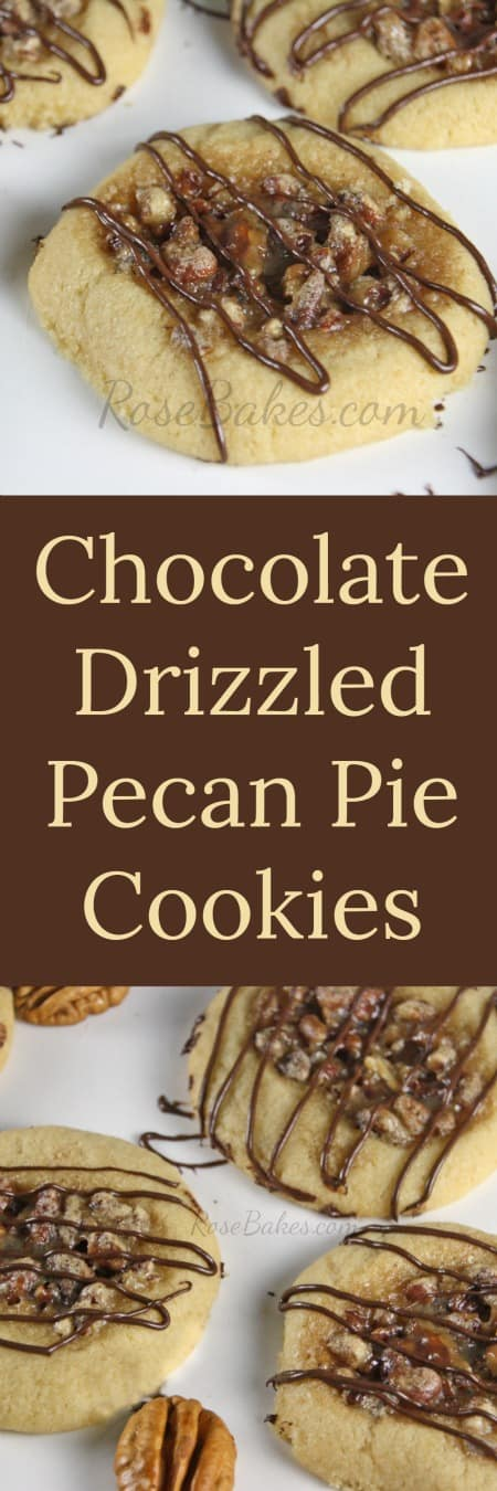 Chocolate Drizzled Pecan Pie Cookies | RoseBakes.com