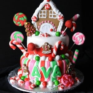Gingerbread House Christmas Candy Birthday Cake