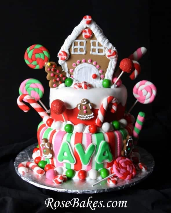 Christmas Birthday Cake.Gingerbread House Christmas Candy Birthday Cake