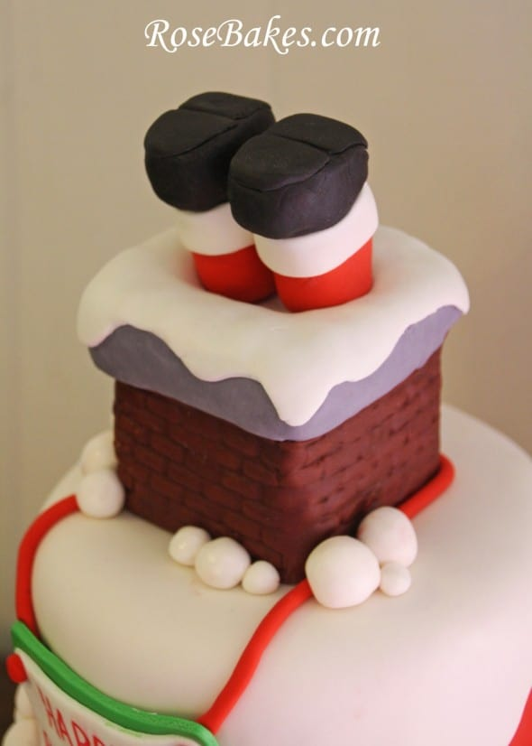 Santa 39 s stuck in the chimney christmas birthday cake Santa stuck in chimney cake