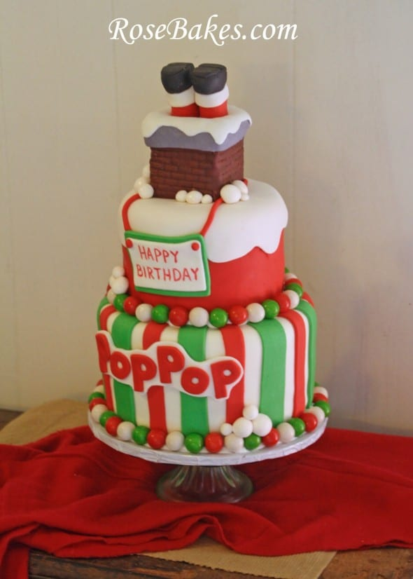 Santas Stuck In The Chimney Christmas Birthday Cake
