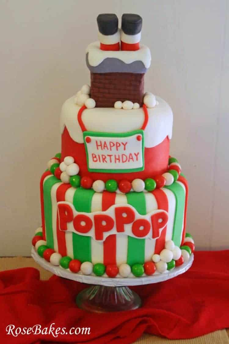 Santa Stuck in the Chimney Christmas Birthday Cake