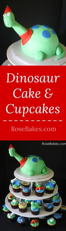 Dinosaur Cake & Cupcakes RoseBakes