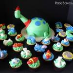 Dinosaur Cake and Cupcakes 8x10