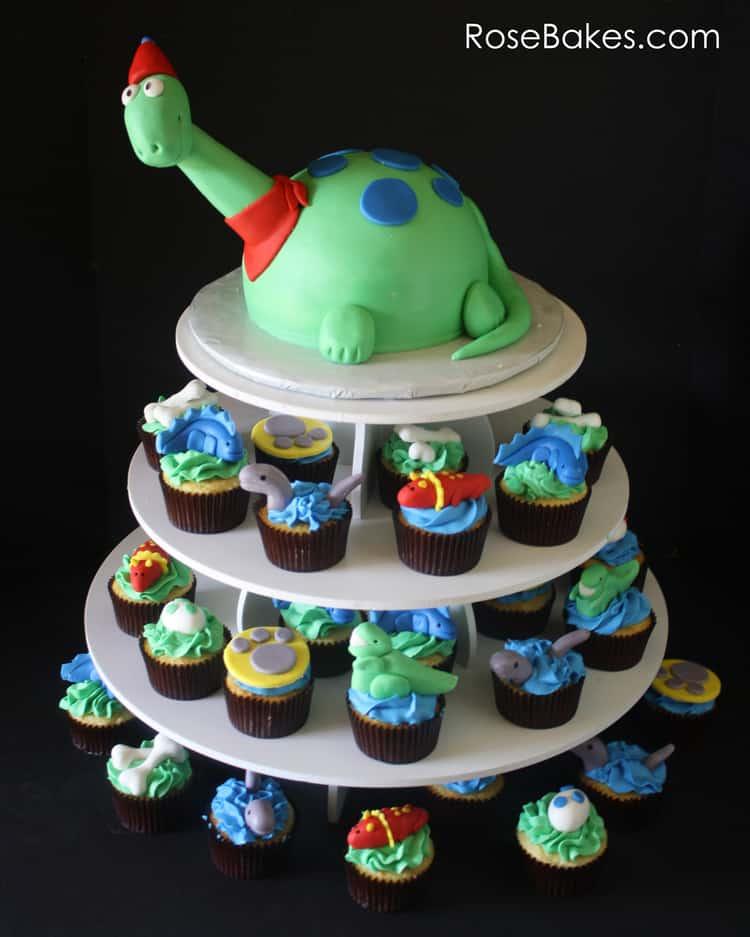 Dinosaur Cake and Cupcakes Tower