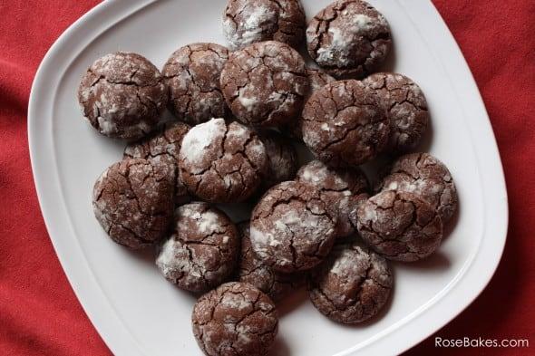 Easy Chocolate Crackle Cookies Plate