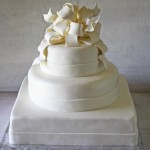 Elegant All White Wedding Cake with Poofy Bow