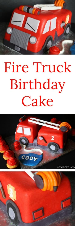 Fire Truck Birthday Cake RoseBakes