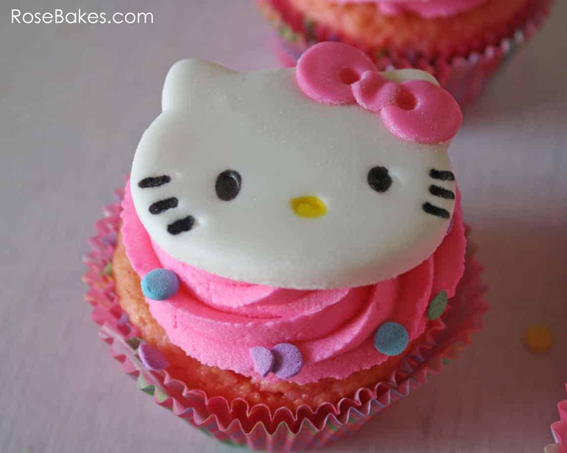 Homemade hello kitty cupcake cake