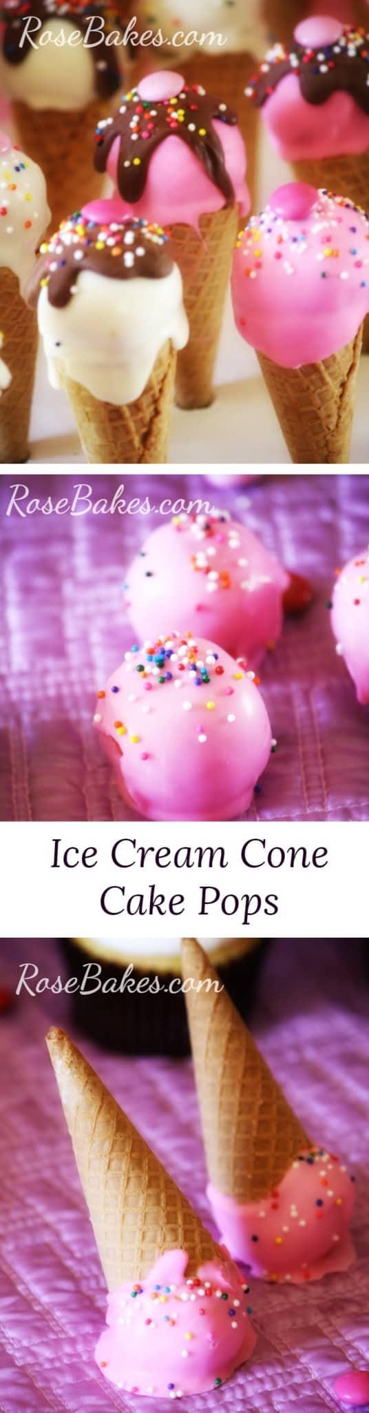 Ice Cream Cone Cake Pops | RoseBakes.com