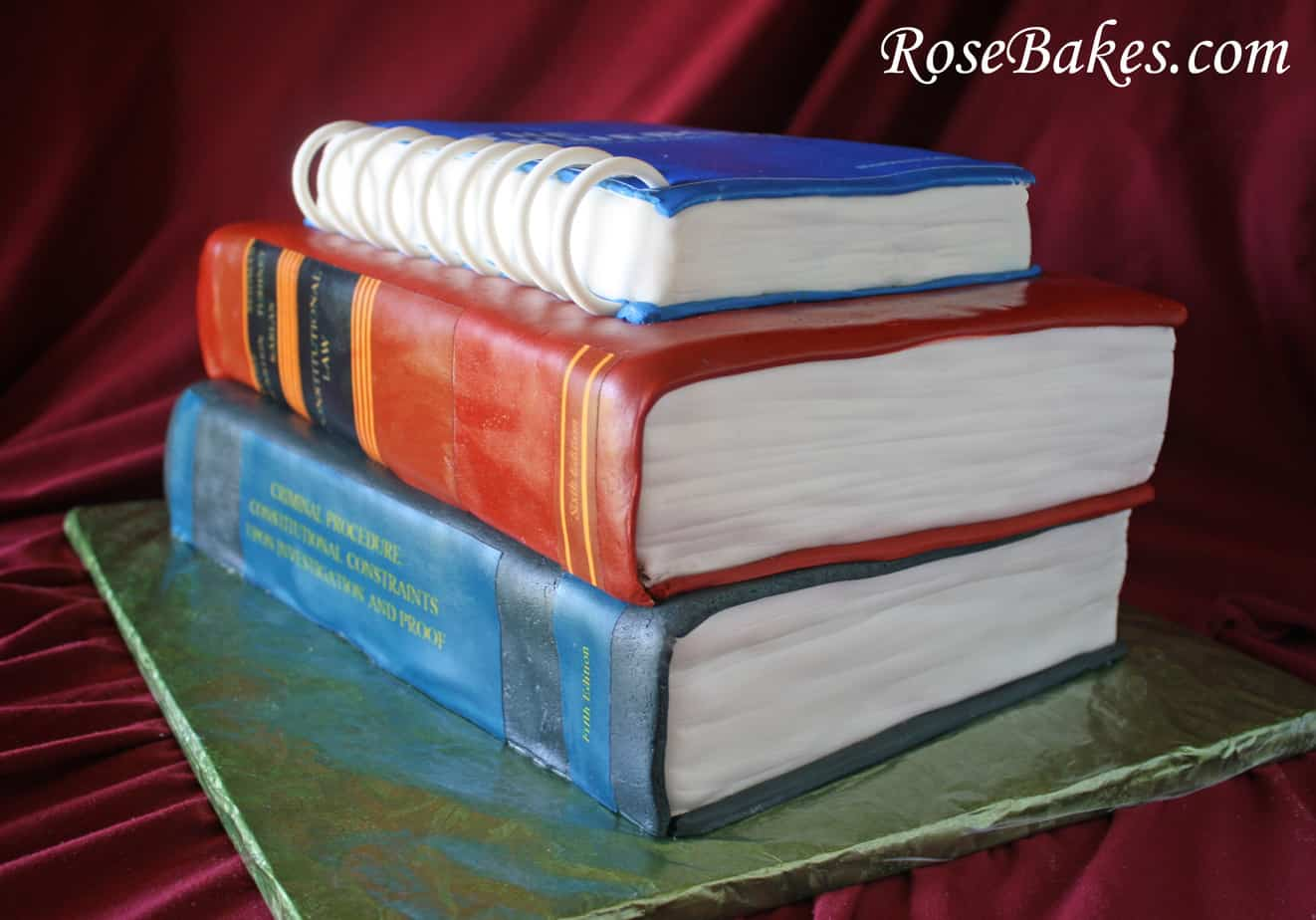 Law School Graduation Books Textbooks Grooms Cake 2