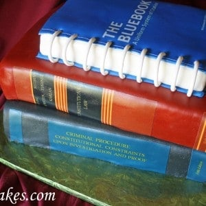 Law School Graduation Books Textbooks Grooms Cake