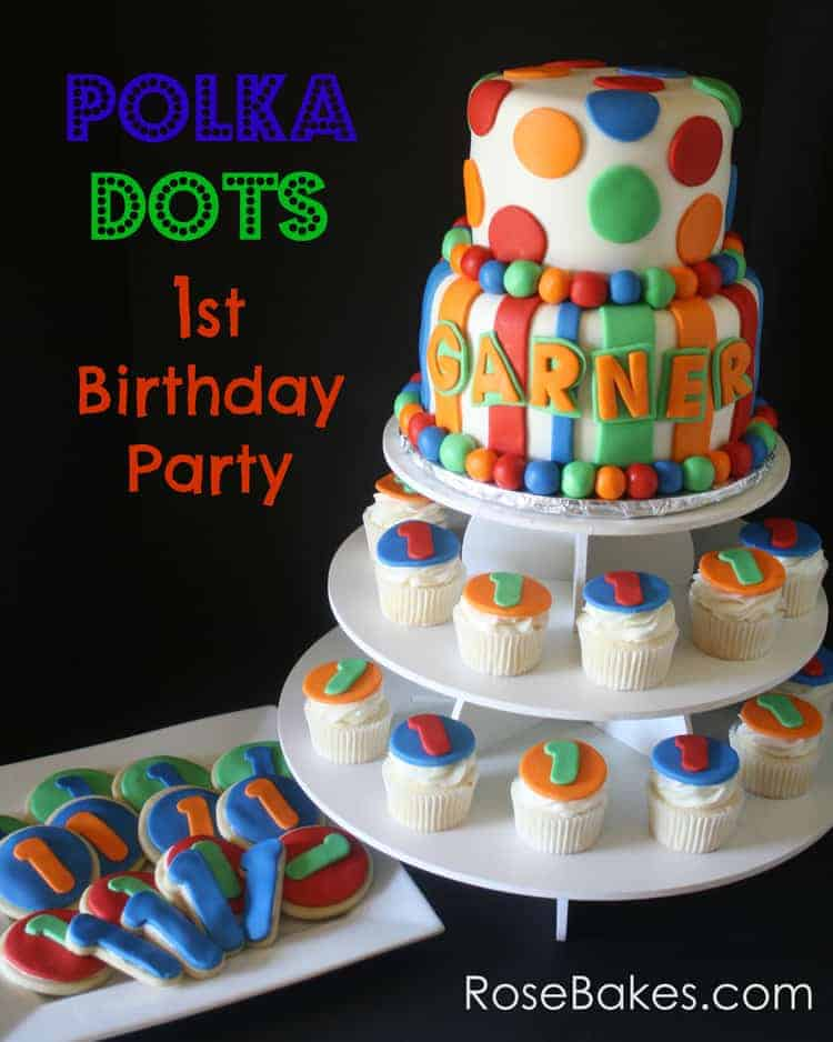 Polka dots stripes 1st birthday party for Dots and stripes party theme