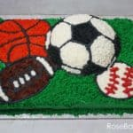 Sports Balls Birthday Cake Buttercream Sheet Cake Soccer Baseball Basketball Football