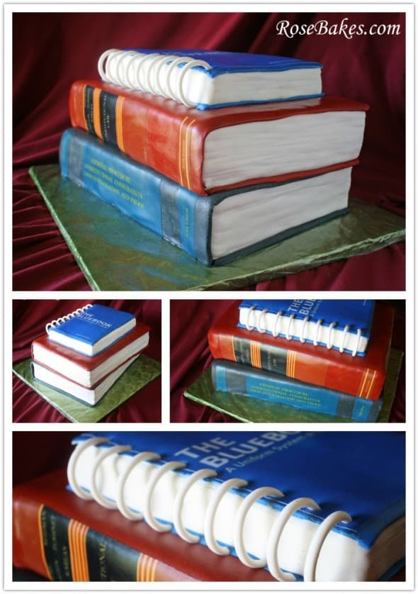 Stack of Law Books Cake