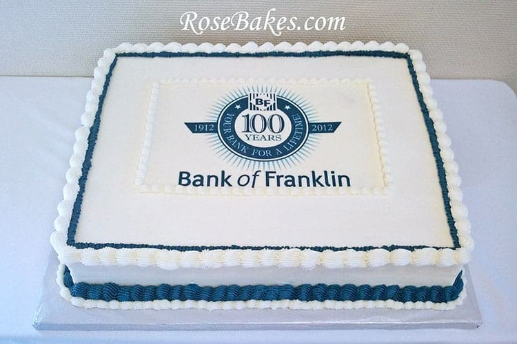 Bank Of Franklin 100 Year Anniversary Cake