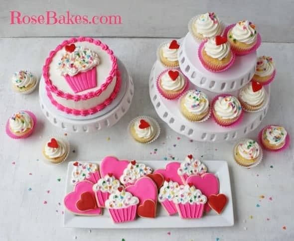Cupcakes Hearts 1st Birthday Party Cookies Smash Cake