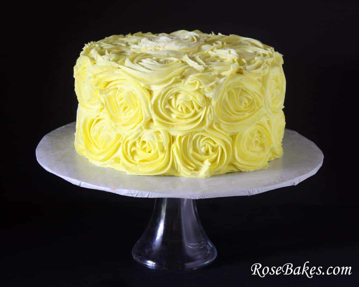 Birthday Cake Yellow White Cream Roses