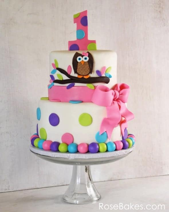 Images Of Cake For First Birthday : Owl Cake for Twins 1st Birthday + Smash Cakes