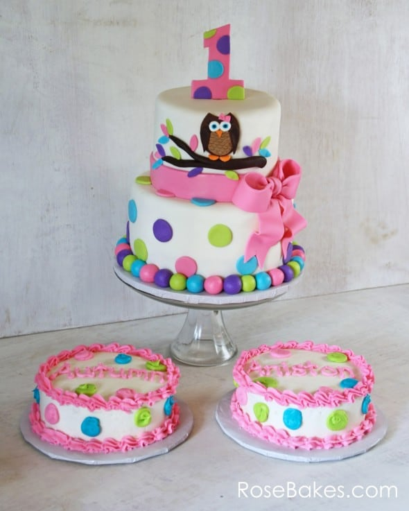 Cake Ideas For Twins First Birthday : Owl Cake for Twins 1st Birthday + Smash Cakes