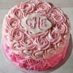 Pink Ombre Buttercream Roses Cake