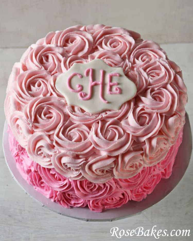 Birthday Cake Designs Roses : Pink Ombre Roses Birthday Cake
