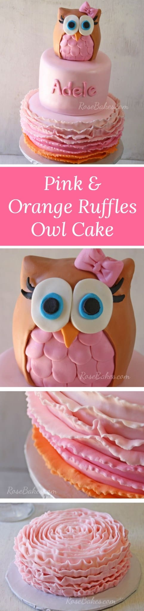 Pink & Orange Ruffles Owl Cake RoseBakes