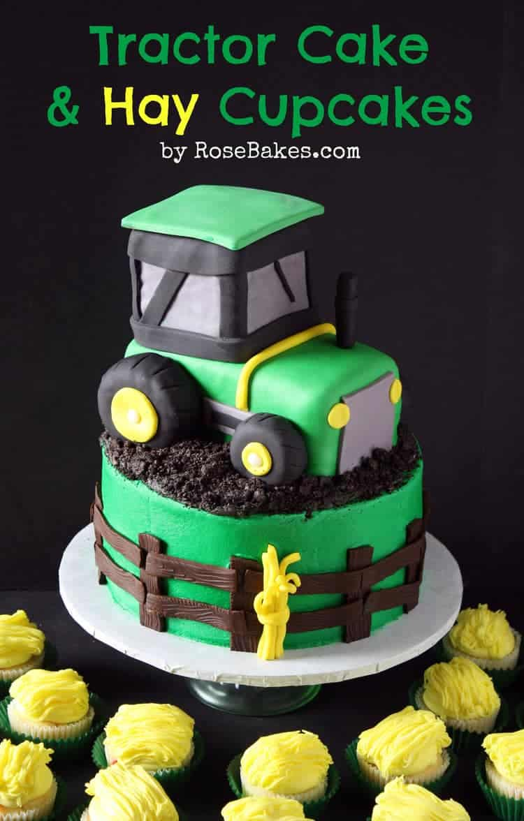 John Deere Green Tractor Cake Hay Bale Cupcakes