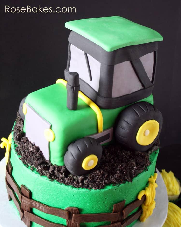 Astonishing John Deere Green Tractor Cake Hay Bale Cupcakes Funny Birthday Cards Online Amentibdeldamsfinfo